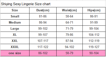 Shiying Sexy Lingerie Size Chart