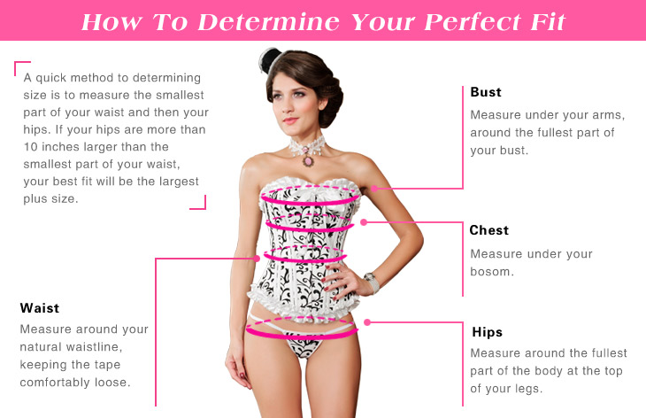 How to measure corset size, corset size chart