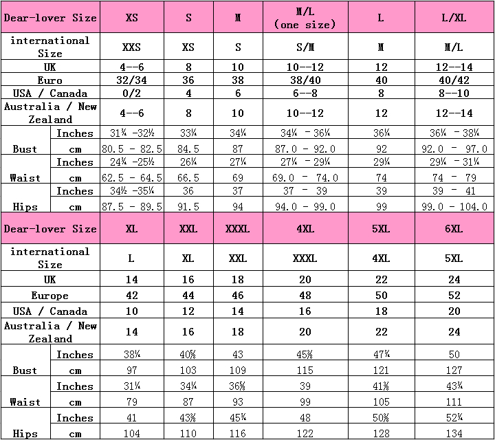 Dear-Lover Women's Clothing Size Chart