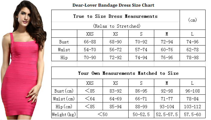Kära-Lover Bandage Dress Size Chart