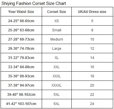 Shiying Fashion Corset Size Chart
